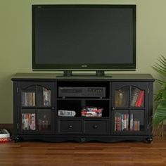 Palisade Antique Black TV Stand, for TVs up to 50 Tv Stand, Tv Stand With Storage, Tv Center, Tv Media Stands, Black Tv Stand, Cool Tv Stands, Entertainment Furniture, Entertainment Units, Wood Bridge
