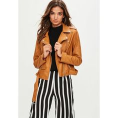 Missguided Brown Faux Leather Biker Jacket ($76) ❤ liked on Polyvore featuring outerwear, jackets, tan, vegan biker jacket, motorcycle jacket, biker jacket, tan jacket and faux leather motorcycle jacket