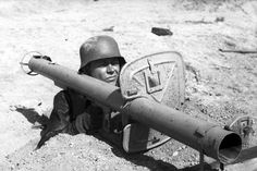 German soldier with an antitank rocket laucher.Date and location unknown