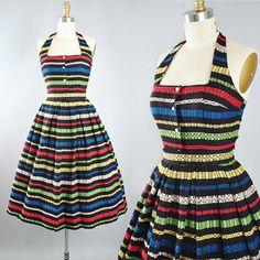 Vintage 1950s Jonathan Logan Dress Set / 50s Cotton Embroidered Sundress RAINBOW Mexican SERAPE Style Halter Top Full Skirt Garden Picnic XS