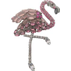 Signed Moans Couture Five Inch Pink Flamingo Brooch Bird Jewelry, Vintage Jewelry, Jewelry Design, Rhinestone Jewelry, Vintage Rhinestone, Contemporary Jewellery Designers, Pink Flamingos, Artisan Jewelry, Costume Jewelry