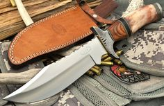 "CFK USA Custom Handmade 3/16"" 1095HC Oregon Bandit Hunter Elk Bone Bowie Knife #CFKCutleryCo"