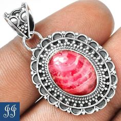 UNIQUE RHODOCHROSITE GEMSTONE 925 STERLING SILVER PENDANT & CHAIN #Jewelry #Deal #Fashion