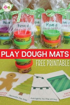These free printable Christmas play dough mats make a great Christmas gift for students, a nice party favor, or a fun activity for a kids Christmas party. Just print, laminate, and cut and add play dough.....a printable gift tag is even included. This is