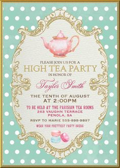 Tea Party Invitation High Tea Bridal Shower by WestminsterPaperCo