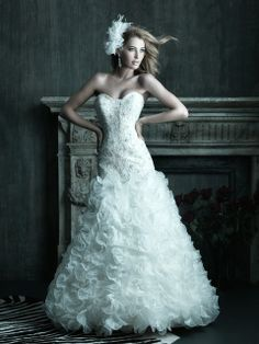 Allure Bridals : Couture Collection : Style C203 : Available colours : White/Silver, Ivory/Silver