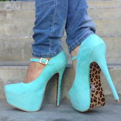 Turquoise Mary Jane pump with leopard souls.