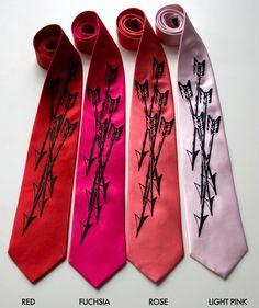 """Archery arrows silk necktie, """"Quiver."""" Silkscreen design men's tie, black ink.. $40.00, via Etsy."""