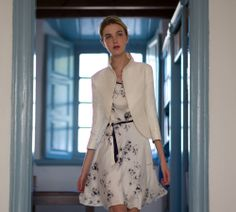 A shortened version of the Buxton coat with a stand-up collar and Betty Flared dress from the 2012 Katherine Hooker Summer Collection | London