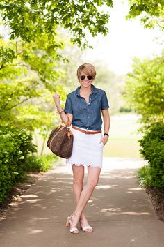 Chambray and lace skirt...