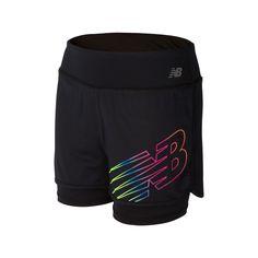 Girls 7-16 New Balance Layered Performance Bike Shorts, Girl's, Size: Large, Black