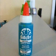 old glue cap + acrylic paint bottle => write in color