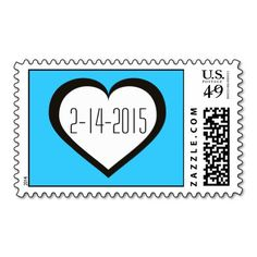 Save the Date heart stamp. Customize date, font, and background color. #heartwarestore => http://www.zazzle.com/save_the_date_white_and_black_heart_on_blue_stamp-172056272351836871?CMPN=addthis&lang=en&rf=238590879371532555&tc=pinHPSsavethdatewhtblkstamp