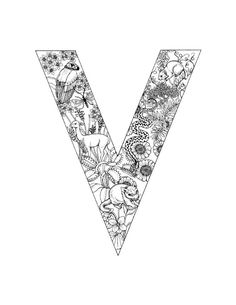 Detailed Coloring Pages for Adults   Alphabet Coloring Pages - V