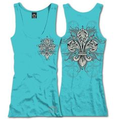 """So pretty! LEAF FLEUR DE LIS Tank Top with rhinestones on front and back, $25.00 + Free Shipping when you enter the coupon code """"PINTEREST"""" during online check out #fleurdelis #LSU #LA #madeinusa #fashion"""