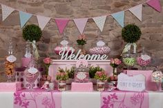 The Sweet Treat Co. is a fabulous new Irish wedding candy buffet or sweet bar supplier offering a beautiful bespoke service for all styles and budgets Shabby Chic Candy Buffet, Pink Candy Buffet, Lolly Buffet, Candy Buffet Tables, Candy Table, Cookie Buffet, Buffet Ideas, Candy Bar Wedding, Wedding Sweets