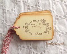 Stitched By Handmade By Gift Tags Vintage by SweetlyScrappedArt, $3.75