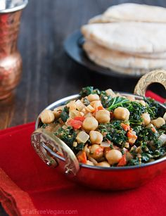 Curried Chickpeas and Kale via Fat Free Vegan Kitchen/Eat to Live.