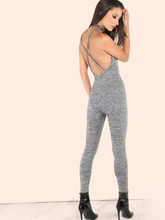 """Fit into this oh so comfortable onesie.Featuring a crossback design, stretchy patterened material and skinny bottoms.Jumpsuit measures 49"""" in. from top to bottom hem.Keep it simple with sneakers and a messy updo. #urban #jumpsuit#MakeMeChic #MMCstyle #MMC #style #fashion #affordable #chic"""