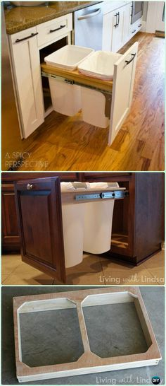 DIY Pull Out Trash & Recycling Bin Instruction - DIY Space Saving Hacks to Organize Your Kitchen