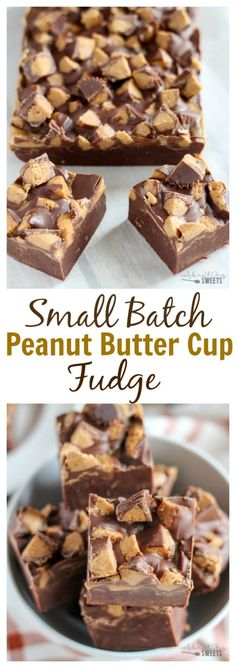 Small Batch Peanut Butter Cup Fudge - Creamy chocolate fudge swirled with peanut butter and topped with peanut butter cups. This small batch recipe is made in a loaf pan. (easy desert recipes in a cup) Fudge Recipes, Candy Recipes, Chocolate Recipes, Sweet Recipes, Chocolate Fudge, Dessert Recipes, Chocolate Chips, Pb Fudge Recipe, Cup Desserts