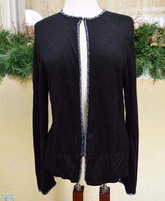 August Silk Beaded Cardigan Sweater L/XL Classic Elegant Fun Party Pretty Slacks #AugustSilk #OneHookCardigan
