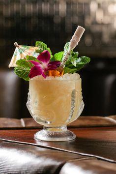 Mai Tai at Three Dots and a Dash, 435 N. Cocktails, Cocktail Drinks, Cocktail Recipes, Rum, Cocktail Garnish, Tiki Party, Kombucha, Mai Tai, Food Menu