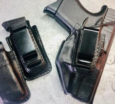 Glock 43 holster and glock 43 magazine MAG pouch. Leather Iwb Holster, Concealed Carry Holsters, Gun Holster, Everyday Carry, Hand Guns, Pouch, Magazine, Firearms, Pistols
