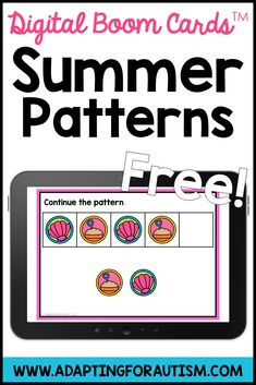 Grab these FREE boom learning digital task cards to practice ABAB patterns. Students get instant feedback on boom cards and will love practicing with these fun summer graphics. Perfect for independent work stations or math centers. Special Education Activities, Special Education Classroom, Educational Activities, File Folder Activities, Work Task, Work Stations, Autism Classroom, Summer Patterns, High School Students