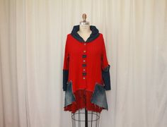 Red spring coat Remodeled top Funky cardigan swing by MilaLem