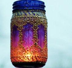 Bohemian mason jar  lantern/ pattern
