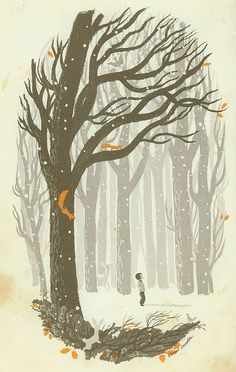 art, spot illustration,  //  Winter woods by Elmer Jacobs (1925-1982)
