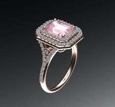 Engagement Ring Double Halo Morganite Wedding Ring 14K Rose Gold with 8x6 Radiant Cut Peachy Pink  Morganite Center Fine Jewelry  - V1061 by JewelryArtworkByVick on Etsy