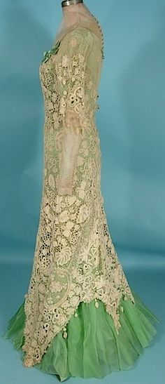 Irish Crochet High-Necked Gown - c. 1908 - Art Nouveau | Art Nouveau ...