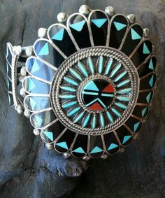 Huge Vintage Zuni Native American Indian Turquoise Silver Cuff Bracelet Signed | eBay