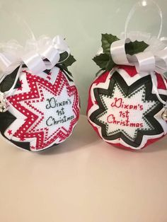 Personalized baby ornament, baby gift, quilted Christmas bauble, quilted ornament with cross stitch message, baby's first christmas ornament Our First Christmas Ornament, Quilted Christmas Ornaments, Fabric Ornaments, Baby Ornaments, Babies First Christmas, 1st Christmas, Christmas Baubles, Christmas Decorations, Christmas Ideas