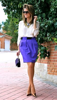 Purple skirt - Work look Business Outfits Women, Office Outfits Women, Passion For Fashion, Love Fashion, Skirt Fashion, Modest Costumes, Preppy Style, My Style, Style Blog