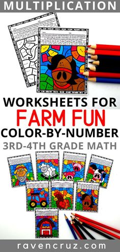 These farm-themed division color by number worksheets can be used to practice division facts in and math. Mastering math facts does not have to be boring! 3rd Grade Math Worksheets, Number Worksheets, Math Rotations, Math Centers, Math Activities, Science Resources, Kindergarten Coloring Pages, Mastering Math, Teaching Multiplication