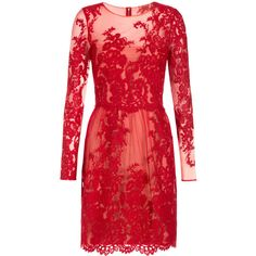 Notte By Marchesa Embroidered Lace Dress (£570) ❤ liked on Polyvore featuring dresses, short dresses, vestidos, gowns, red, red dress, tulip skirt, sheer lace dress, mini dress and lace mini dress