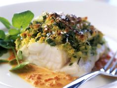 Fish fillet in herb crust and red pepper sauce Supper Recipes, Fish Recipes, Meat Recipes, Seafood Recipes, Gourmet Recipes, Cooking Recipes, Seafood Diet, Fish And Seafood, Food Porn