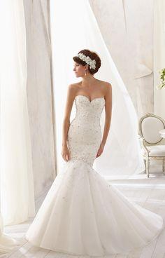 Sweetheart Natural Waist Tulle Wedding Dress