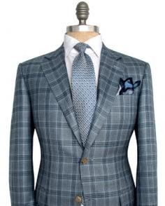 Image of Canali Blue and Navy Plaid Sportcoat