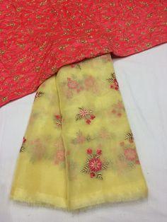 Designer Organza sarees with designer blouse - Elegant Fashion Wear Organza Saree, Net Saree, Georgette Fabric, Georgette Sarees, Silk Saree Blouse Designs, Saree Blouse Patterns, Bandhani Saree, Sari, Long Frocks For Kids