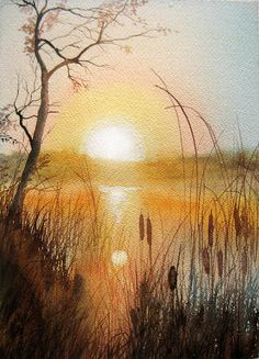 Sunlight Through Cattails Painting by Katherine Larson