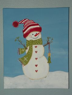 Canvas art Snowman 8X10 by SCVsPlace on Etsy, $28.00 Artwork from my Sister-in-law