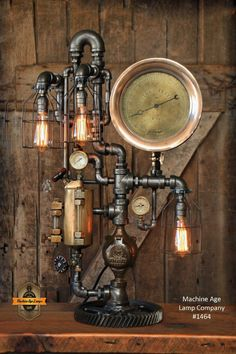 steampunk industrial steam gauge brass oiler gear pipe light lamp