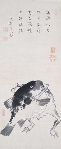 蝦蟇河豚相撲図.jpeg (198×481) 伊藤若冲