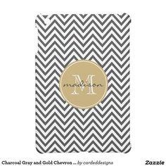Charcoal Gray and Gold Chevron Custom Monogram Cover For The iPad Mini
