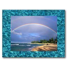 seashore rainbow postcard