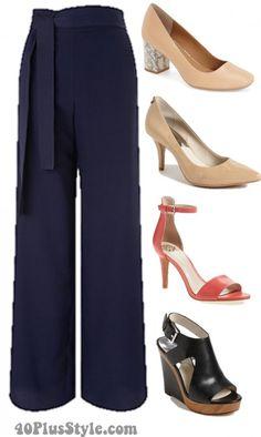 wide leg pants shoes pumps wedges | 40plusstyle.com